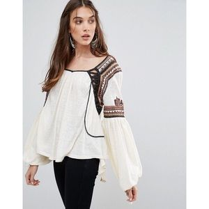 Free People Snow Kisses Peasant Blouse